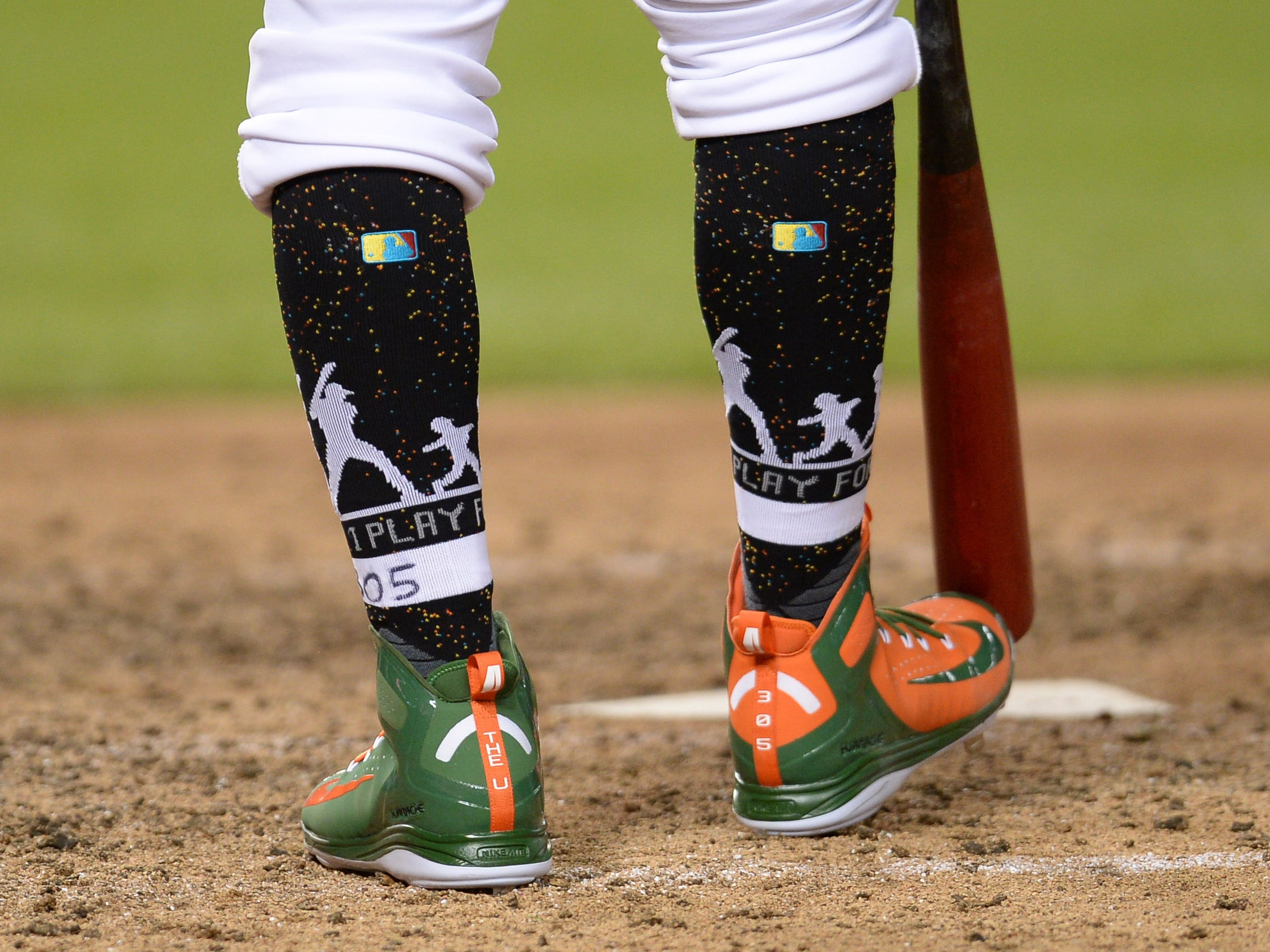 Aug 25, 2018; Phoenix, AZ, USA; A look at the sneakers and socks of Arizona Diamondbacks center fielder Jon Jay (9) during the seventh inning against the Seattle Mariners at Chase Field. Mandatory Credit: Joe Camporeale-USA TODAY Sports