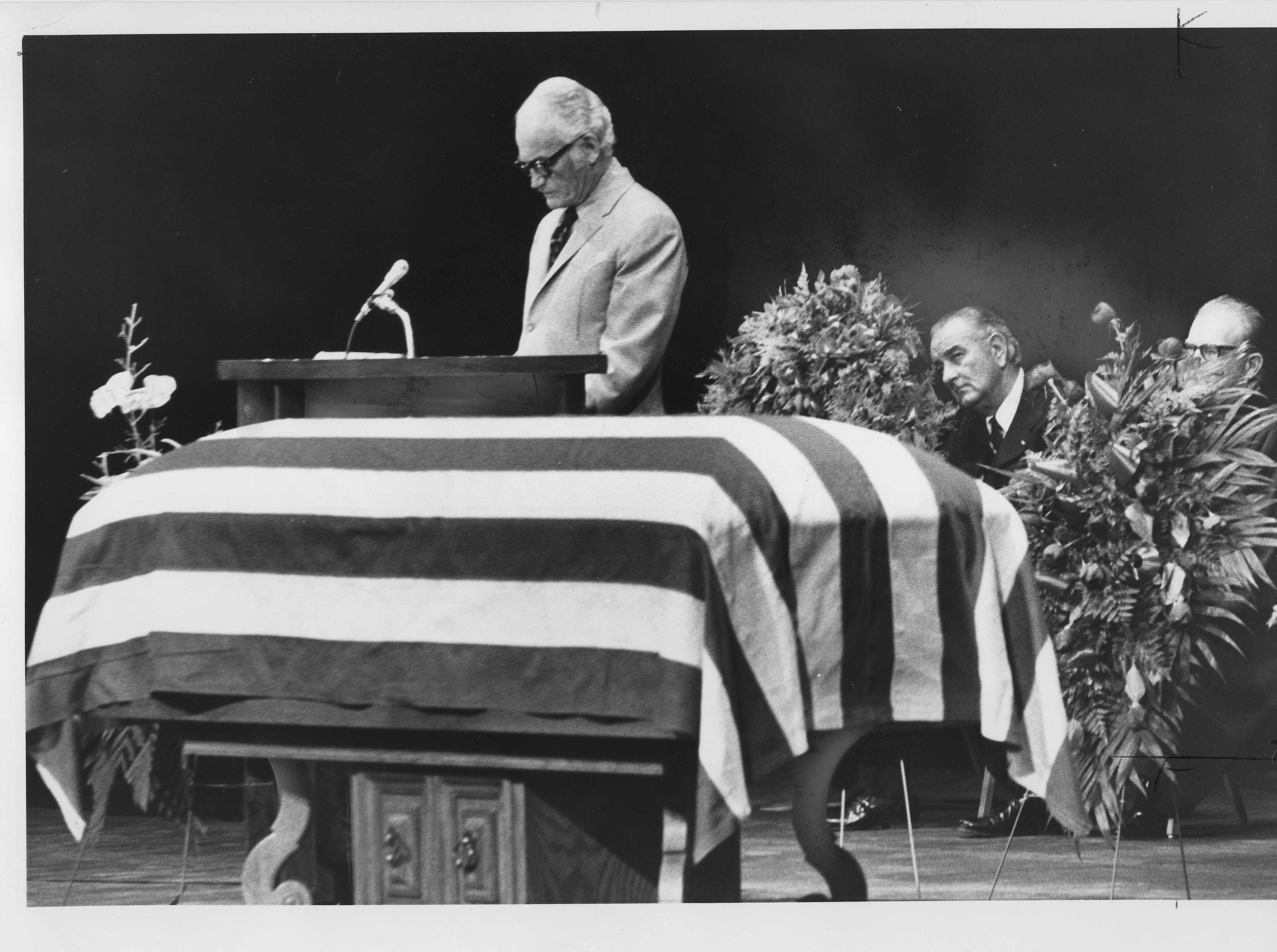 U.S. Sen. Barry Goldwater attends the funeral for former U.S. Sen. Carl Hayden in 1972, as former President Lyndon Johnson looks on.