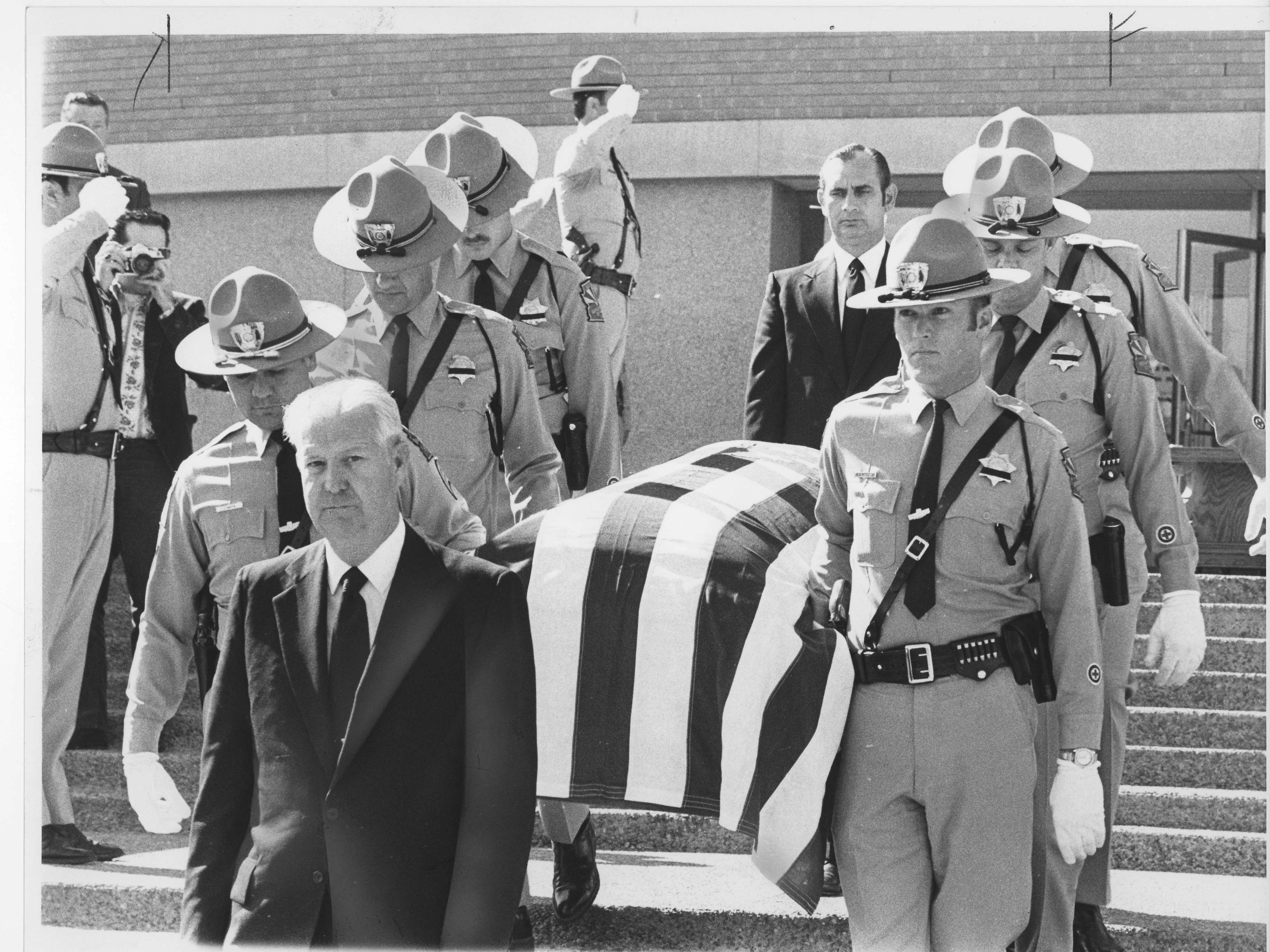 The casket of former U.S. Sen. Carl Hayden is carried at his funeral in 1972.