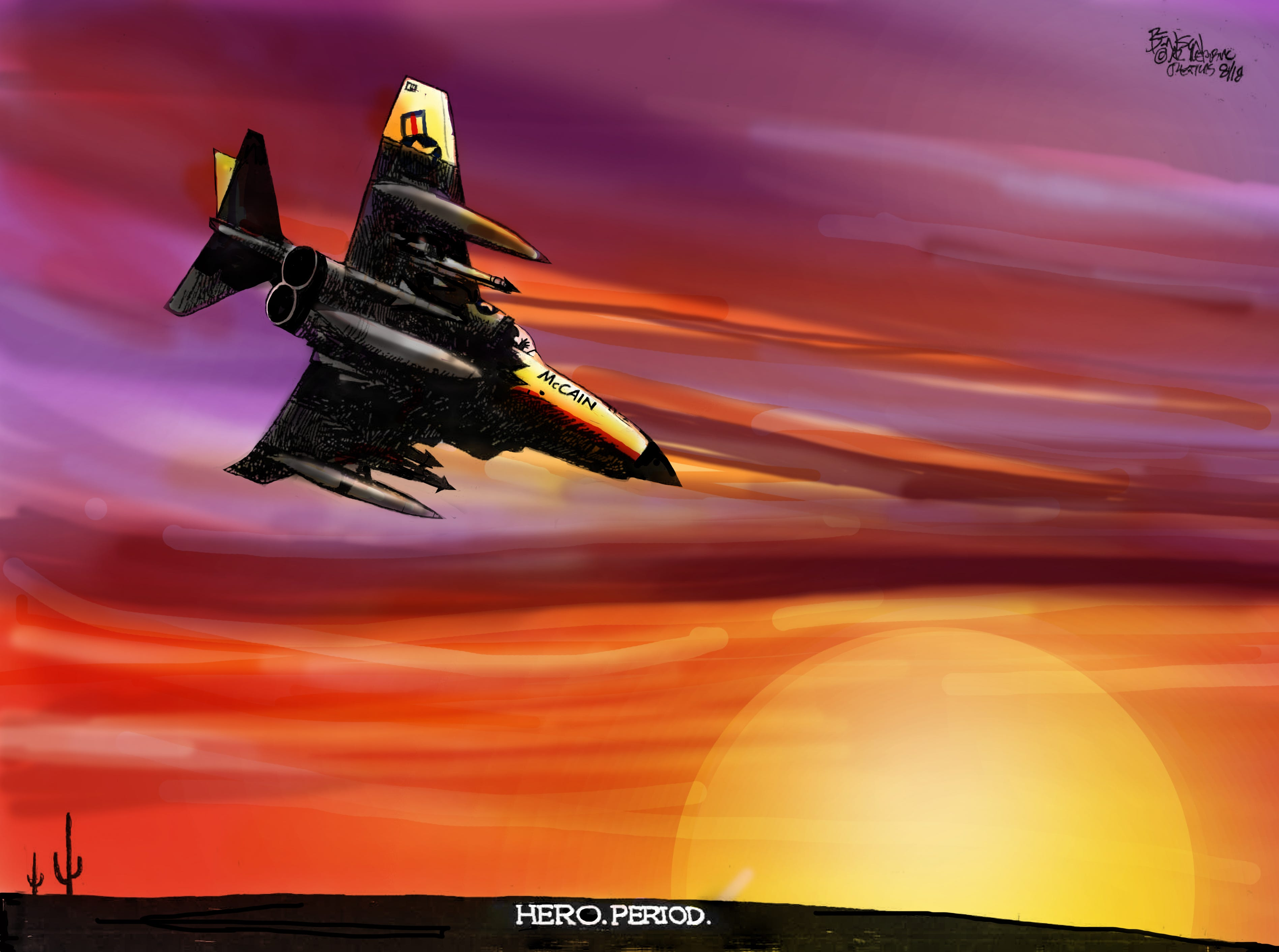 The fighter pilot rides off into the distance a hero. 'Nuff said.