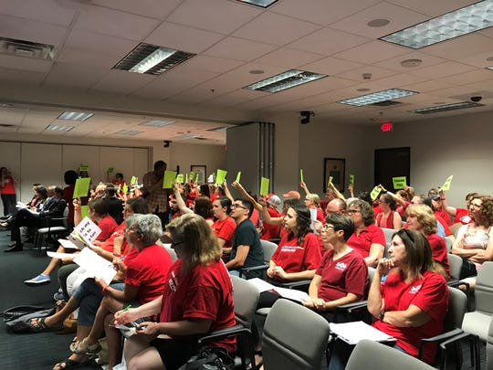 #RedForEd supporters at state Capitol hearing on Aug. 25, 2018.