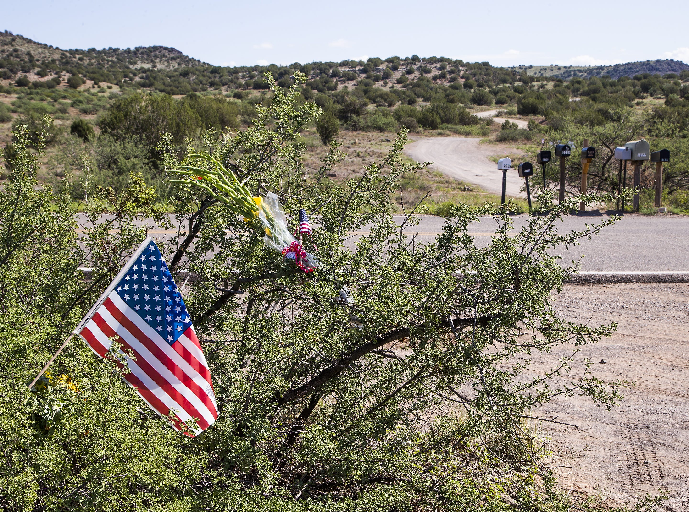 Two small flags and some flowers are stuck in a bush across the road leading to Sen. John McCain's home in Cornville, Arizona, Sunday morning, Aug. 26, 2018.  McCain died Saturday at his home and is being mourned by millions around the world.