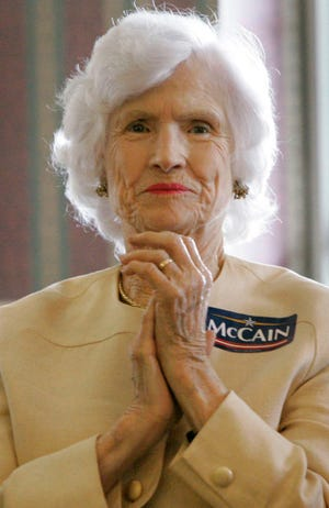 In this Oct. 17, 2007, photo, Roberta McCain, the 95 year-old mother of Republican presidential candidate, Sen. John McCain, R-Ariz., listens to her son's remarks during a campaign stop at Wildwood Downs Retirement Center in Columbia, S.C.