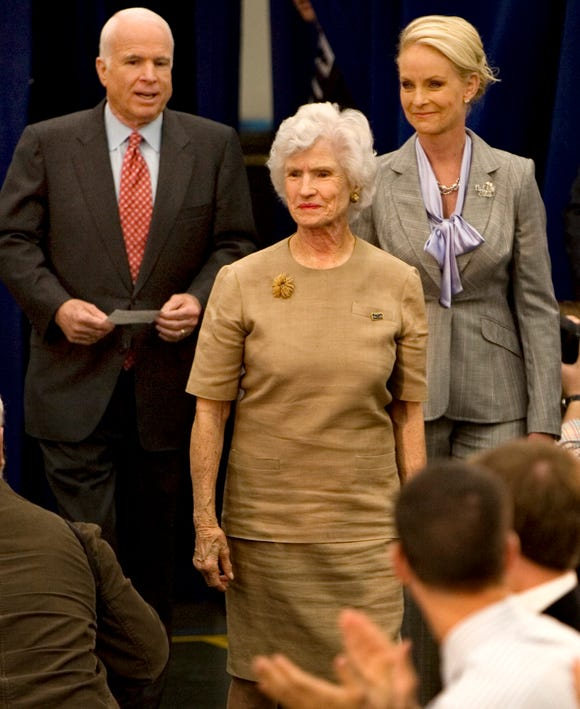 Sen. John McCain's 96-year-old mother, Roberta McCain, leads the way as the Republican presidential candidate and his wife, Cindy, right, arrive at Episcopal High School in Alexandria, Va., April 1, 2008, where McCain attended school in the early 1950's.