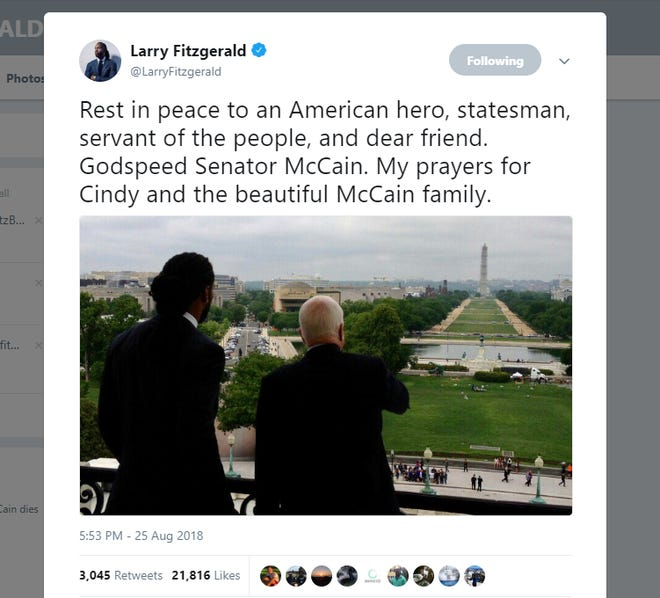 Arizona Cardinals receiver Larry Fitzgerald tweets about Sen. John McCain after his death on Aug. 25, 2018