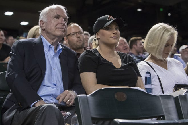 Senator John McCain, his daughter Meghan McCain and his wife Cindy McCain attend the Arizona Diamondbacks and Los Angeles Dodgers game on Thursday, Aug. 10, 2017 at Chase Field in Phoenix, Ariz.