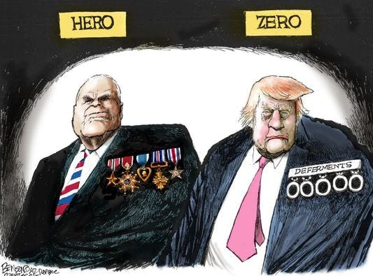 In 2015, then-presidential candidate Donald Trump said of former POW McCain, 'I like people who weren't captured.'