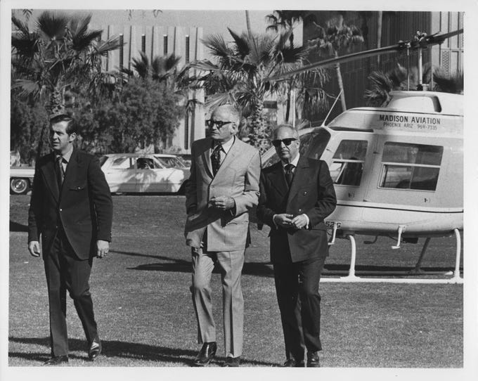 U.S. Sen. Barry Goldwater (center) attends former Sen. Carl Hayden's funeral in 1972.