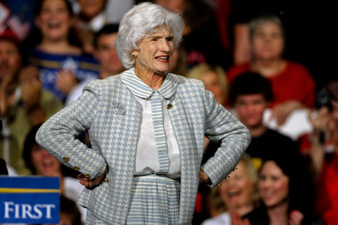 Roberta McCain, mother of Republican presidential candidate Sen. John McCain, R-Ariz., stands on stage during a rally in Downingtown, Pa., Oct. 16, 2008.