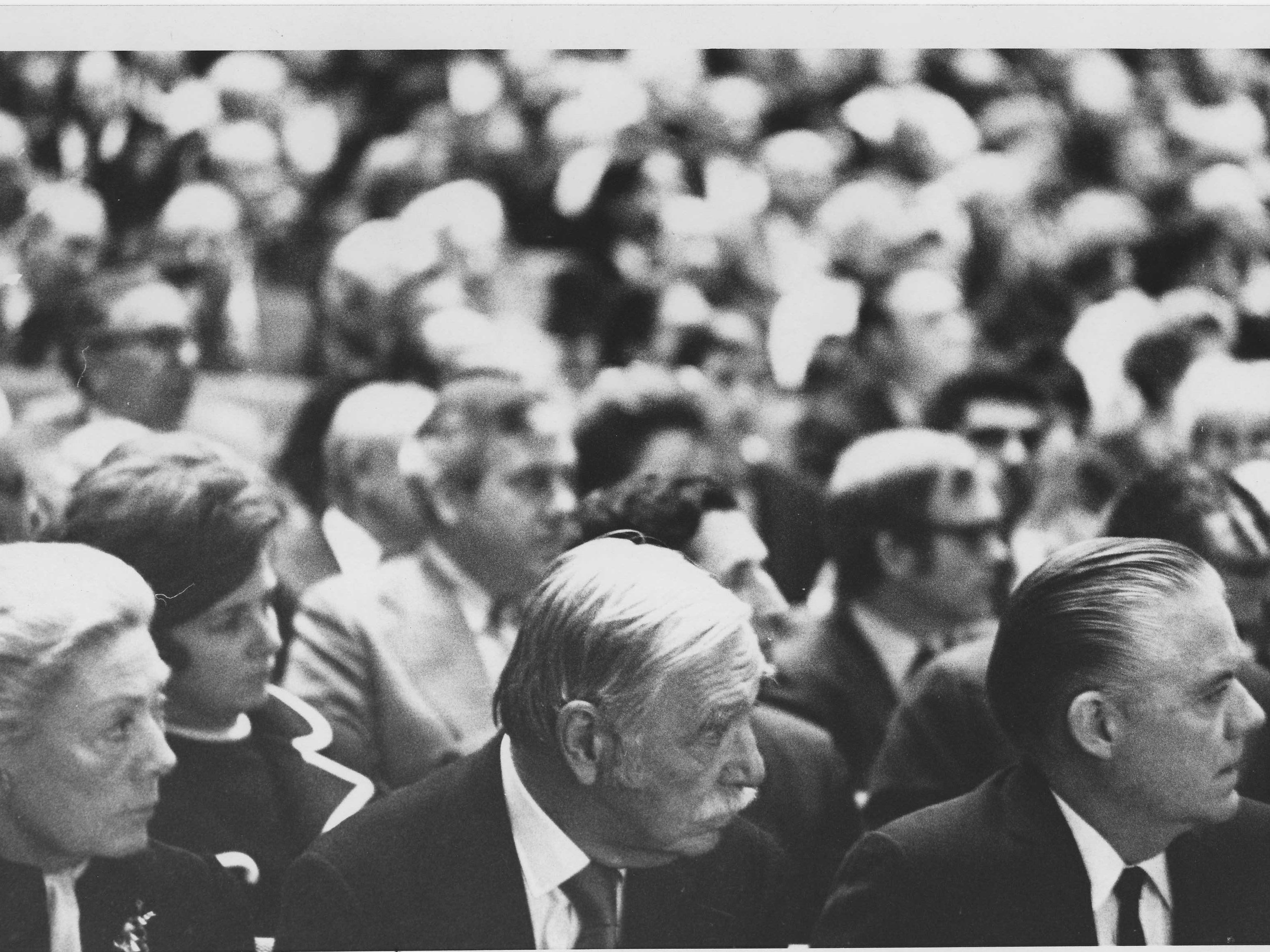 Attendees at the funeral of former U.S.   Sen. Carl Hayden in 1972.