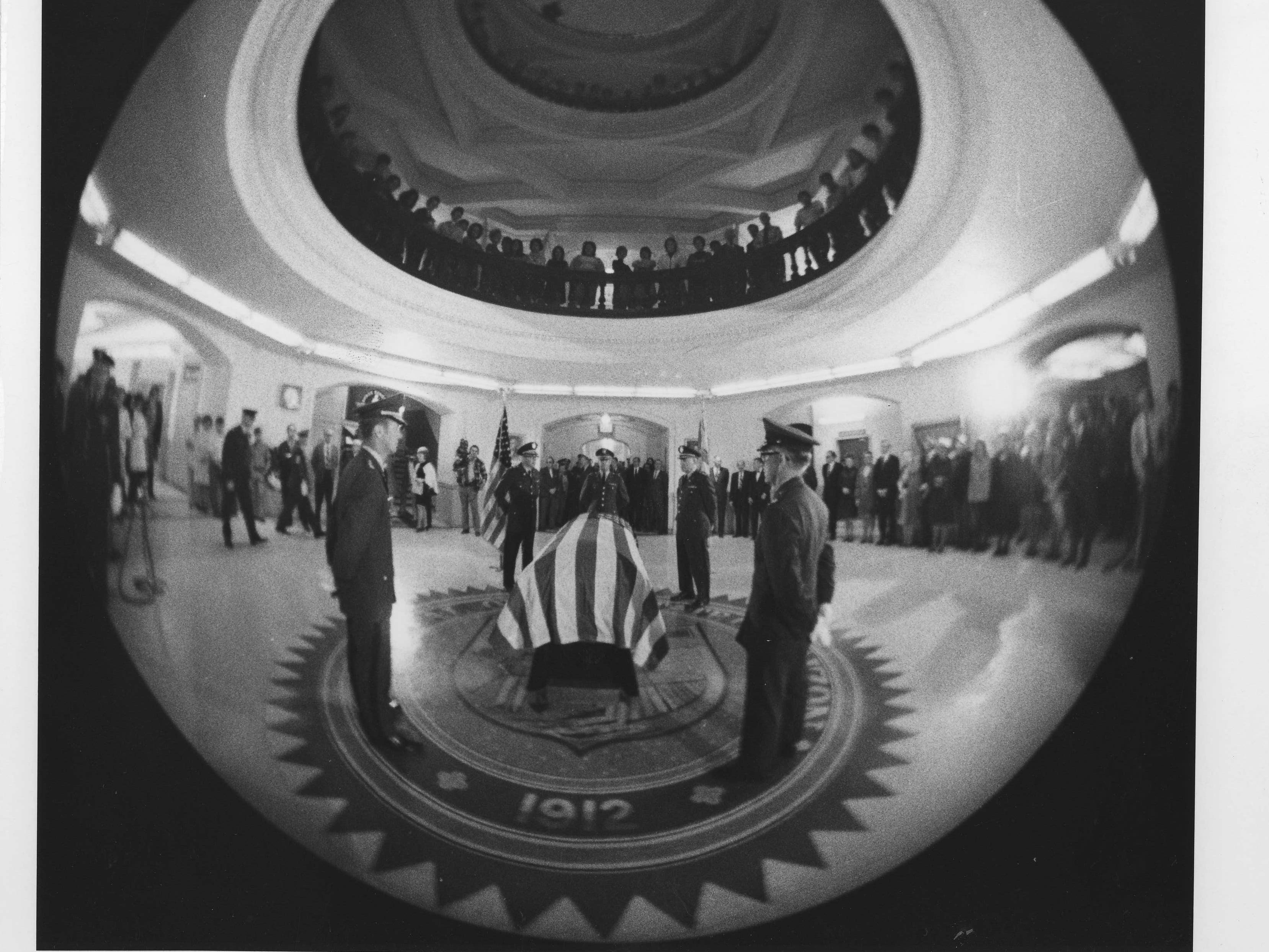 The casket of former U.S. Sen. Carl Hayden is seen in the rotunda of the state Capitol in 1972.