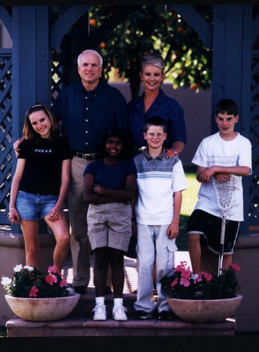 Republican presidential candidate John McCain and his wife Cindy pose with their children in this undated photo. Children are, from left: Meghan, 14; Bridget, 8; Jimmy, 11; and Jack, 13.  Bridget was adopted from an orphanage in Bangladesh.