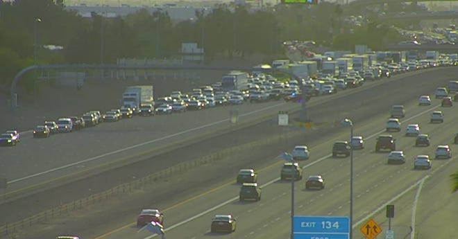 Lanes blocked near the I-10 Eastbound 83rd Avenue exit.