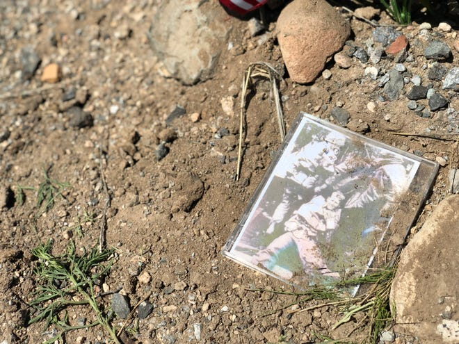 Visitors to a memorial outside the McCain family's Cornville ranch left mementos on Sunday, Aug. 26.