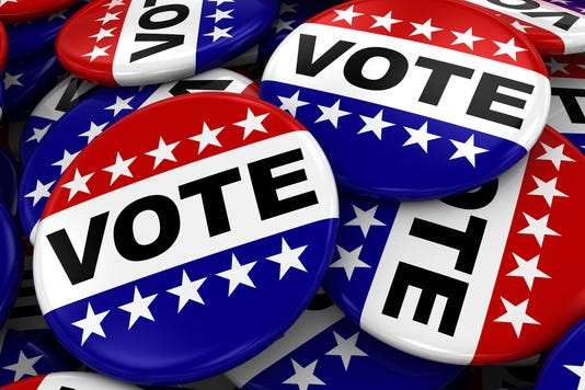 Pile Of Vote Badges Us Elections Concept Image