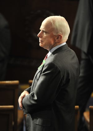 Senator John McCain before arrival of President Barack Obama at his State of Union Address on Feb. 12, 2013.