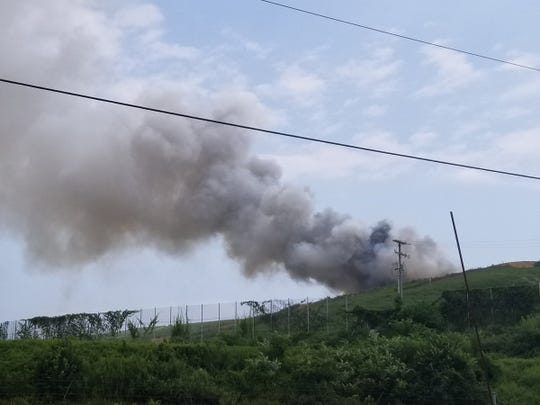 A trash fire was reported at 12:40 p.m. Sunday, Aug. 26, 2018, at Modern Landfill in Lower Windsor Township. John A. Pavoncello photo