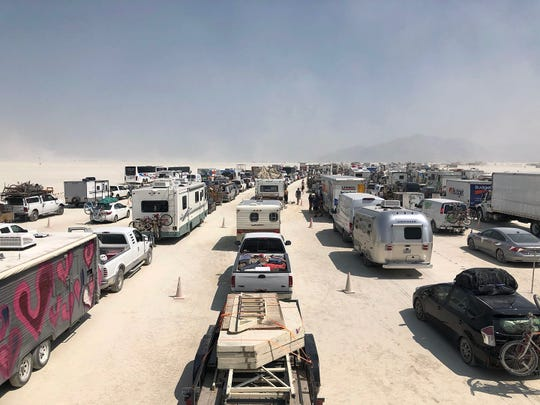 On Saturday, Aug. 25, 2018, early entrants idle in the Burning Man gate line. Though the line was not that long, it took up to 5 hours for most people to get into Black Rock City.