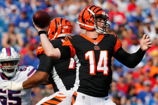 Cincinnati Bengals quarterback Andy Dalton (14) throws a pass during the first half of a preseason NFL football game against the Buffalo Bills Sunday, Aug. 26, 2018, in Orchard Park.