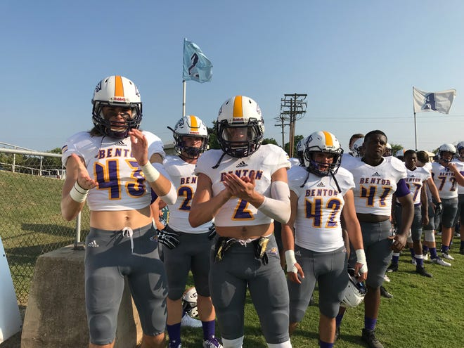 Benton prepares to take the field against Airline Friday in the 2018 Bossier City Lions Club Jamboree at Airline.