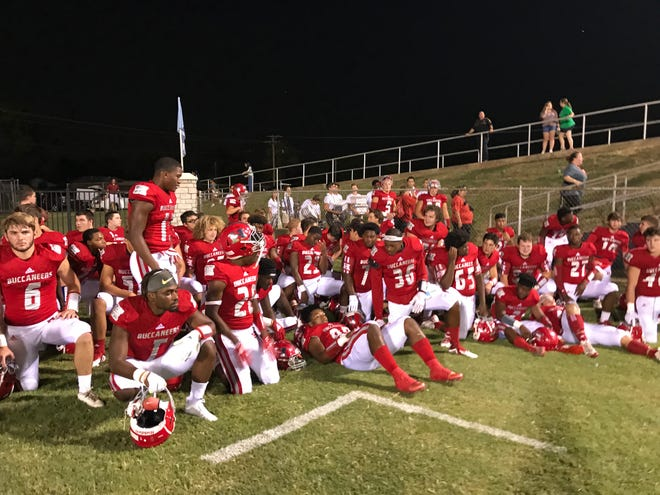 The Haughton Bucs prepare to take the field against Parkway in the 2018 Bossier City Lions Club Jamboree Friday night at Airlne's M.D. Ray Stadium.