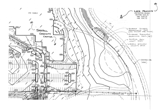 Preliminary plans for a new performance patio at Lake Francis Park near the Sartell Community Center.