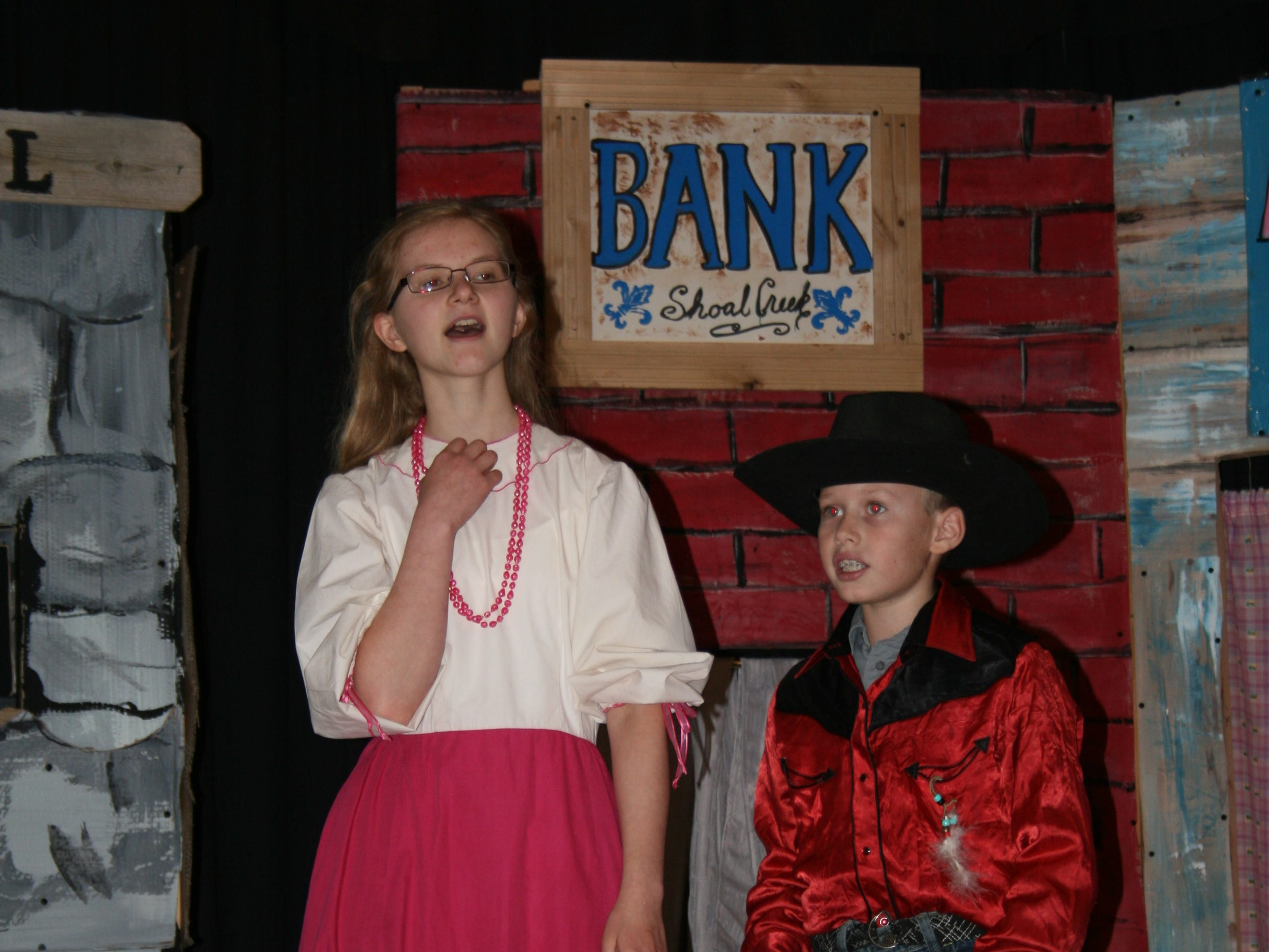 "Actors rehearse the production of ""The Great Dirt Clod City Bank Robbery"" on Aug. 18, 2018. Performances were held during Cornfest on Aug. 25, 2018."