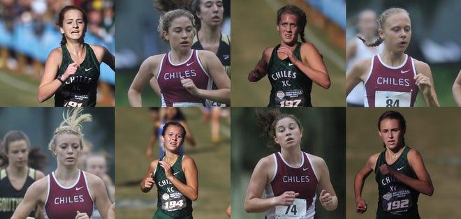 Chiles' girls cross country team returns loaded for a state repeat. Top, L-R: Emily Culley, Alyson Churchill, Caitlin Wilkey, Abby Schrobilgen; Bottom, L-R: Emily Molen, Olivia Miller, Megan Churchill, Lindsay James.