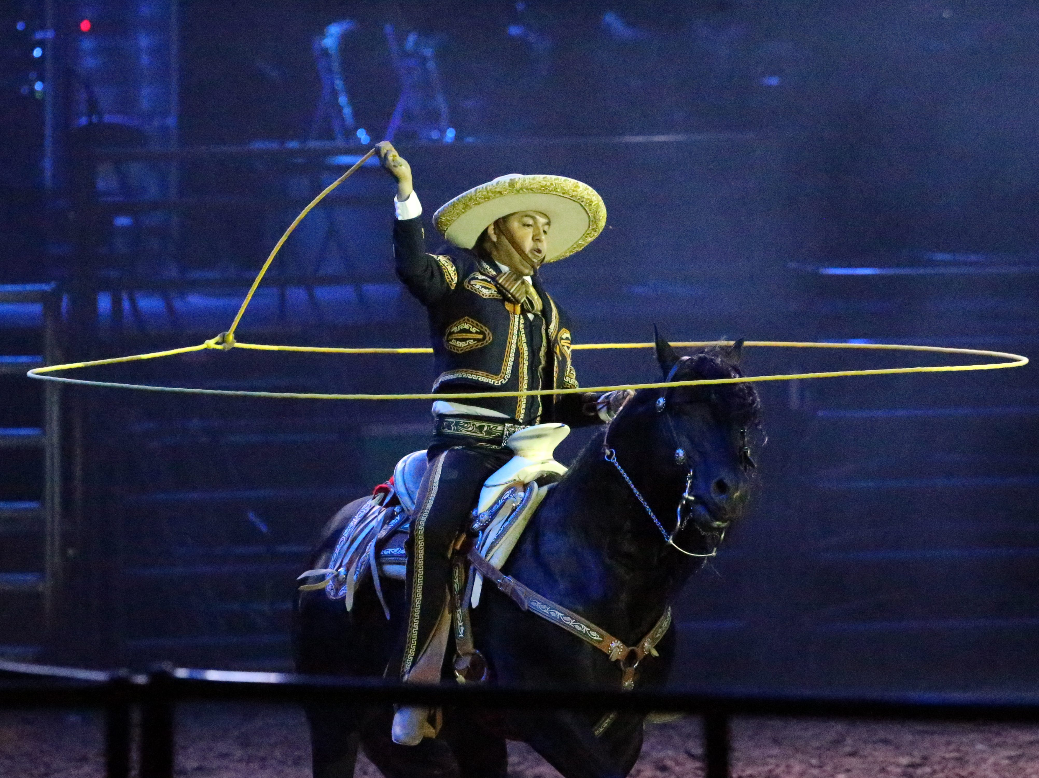 A Mexican Charro from Juarez showed his roping abilities Saturday night in the El Paso County Coliseum.
