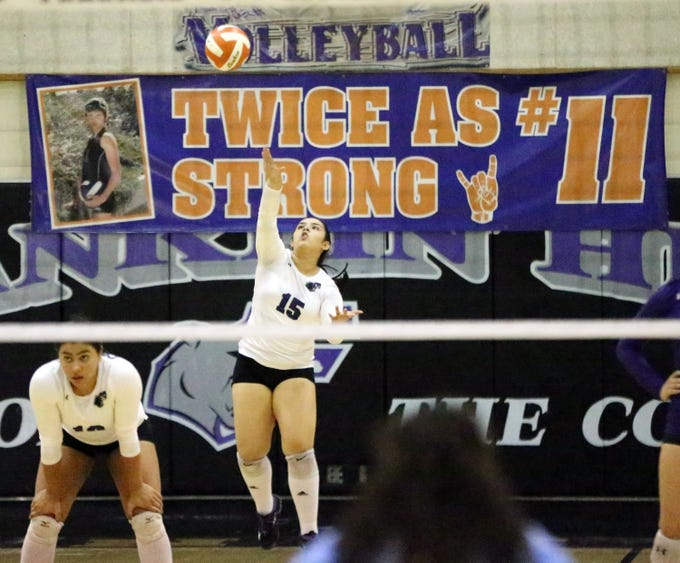 Franklin's Deyalith Barraza, 25, serves the ball with a banner dedicated to Margaret Hussmann during a volleyball tournament in her memory Saturday at Franklin High School.