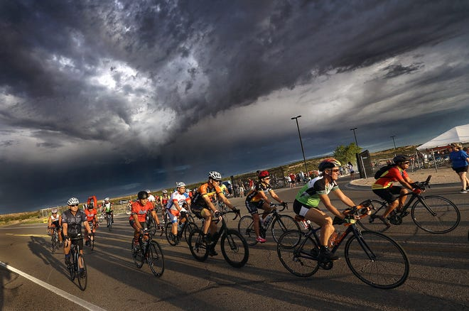 Cyclists embark on the 50k race in the Tour de Tolerance Sunday morning in Santa Teresa, N.M. The race is hosted by the El Paso Holocaust Museum and Study Center and takes riders on a 50-kilometer tour of the New Mexico Rio Grande Valley starting at Santa Teresa High School.