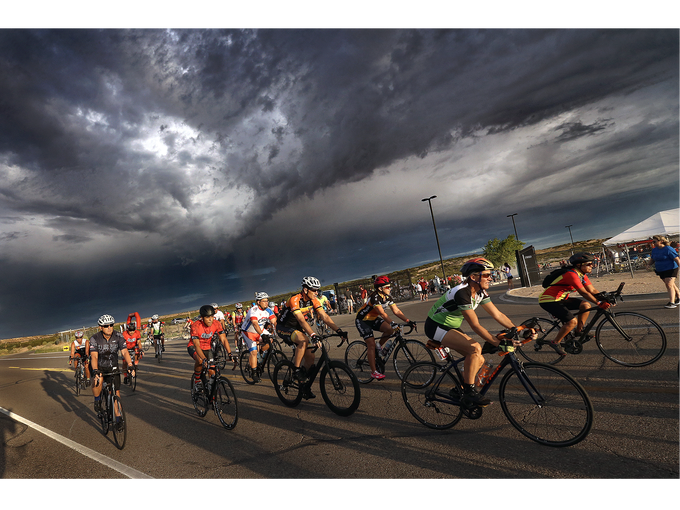 Cyclists embark on their 50k race in the Tour de Tolerance Sunday morning in Santa Teresa, New Mexico. The race is hosted by the El Paso Holocaust Museum and Sudy Center and takes riders on a 50-kilometer tour of the New Mexico Rio Grande Valley from Santa Teresa High School.