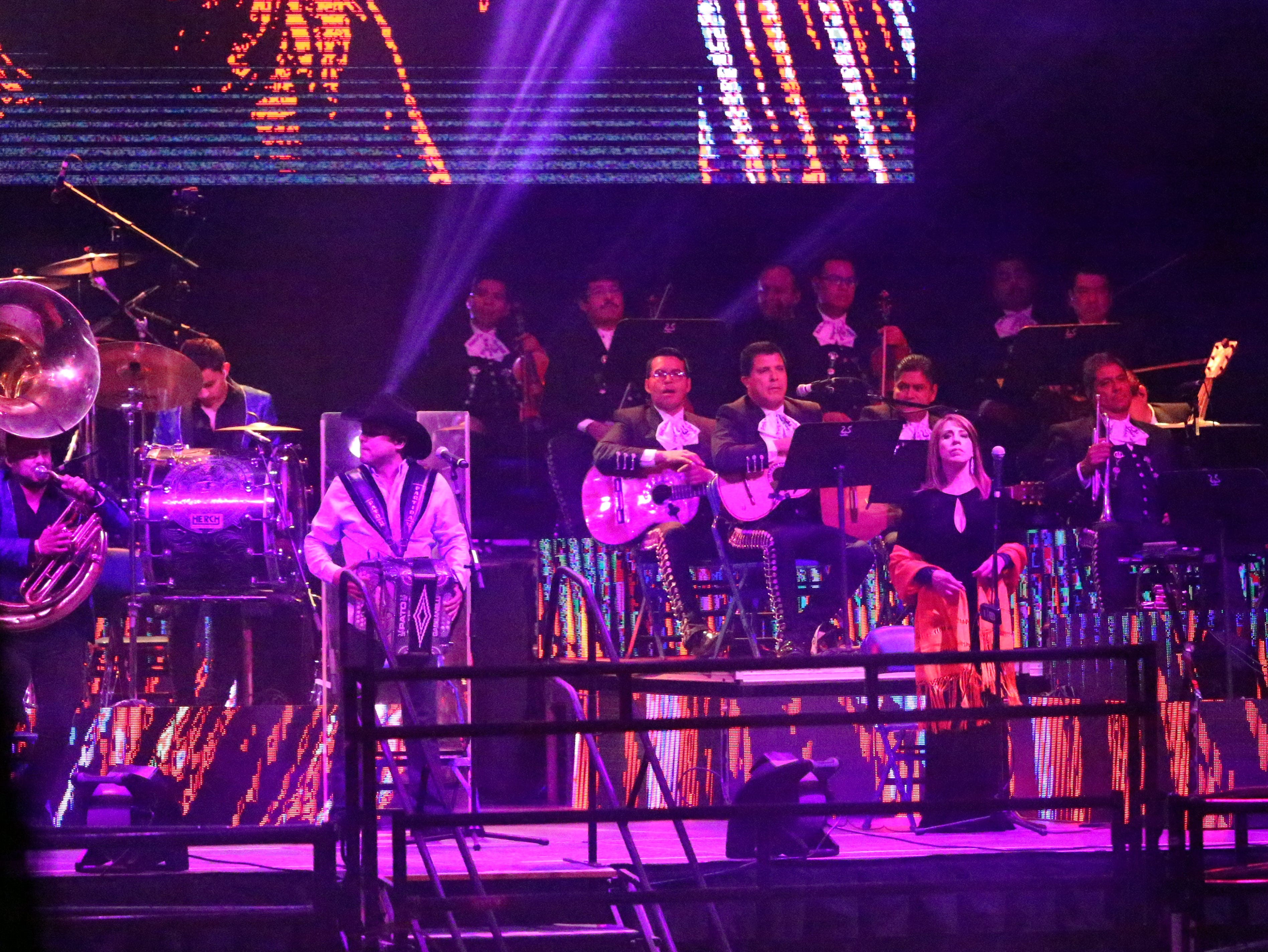 A complete orchestra and band supported the Aguilar family during their Saturday night show in the El Paso County Coliseum/