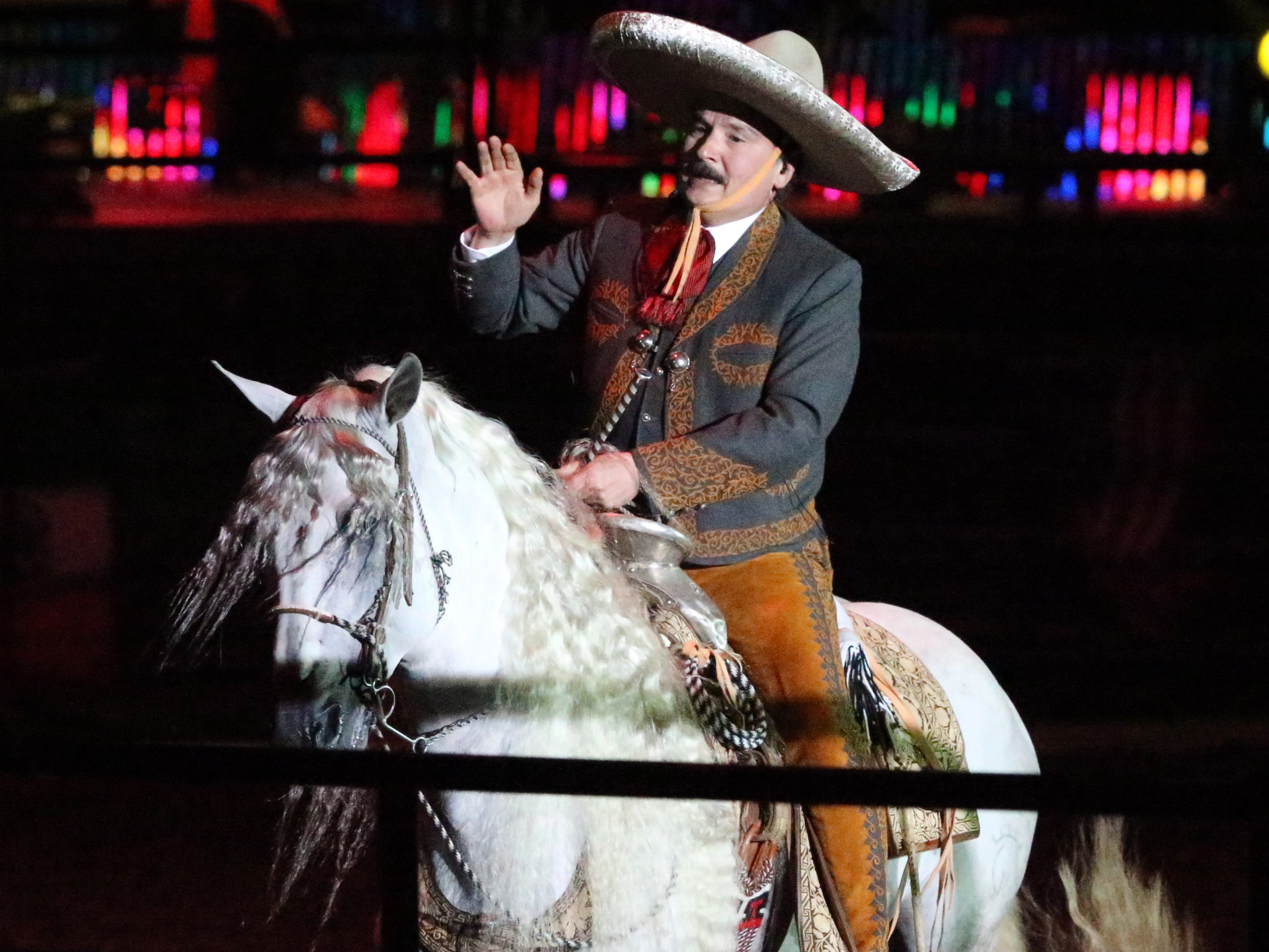 Antonio Aguilar, brother of Mexican singer Pepe Aguilar sings and chats with the audience Saturday night in the El Paso County Coliseum.