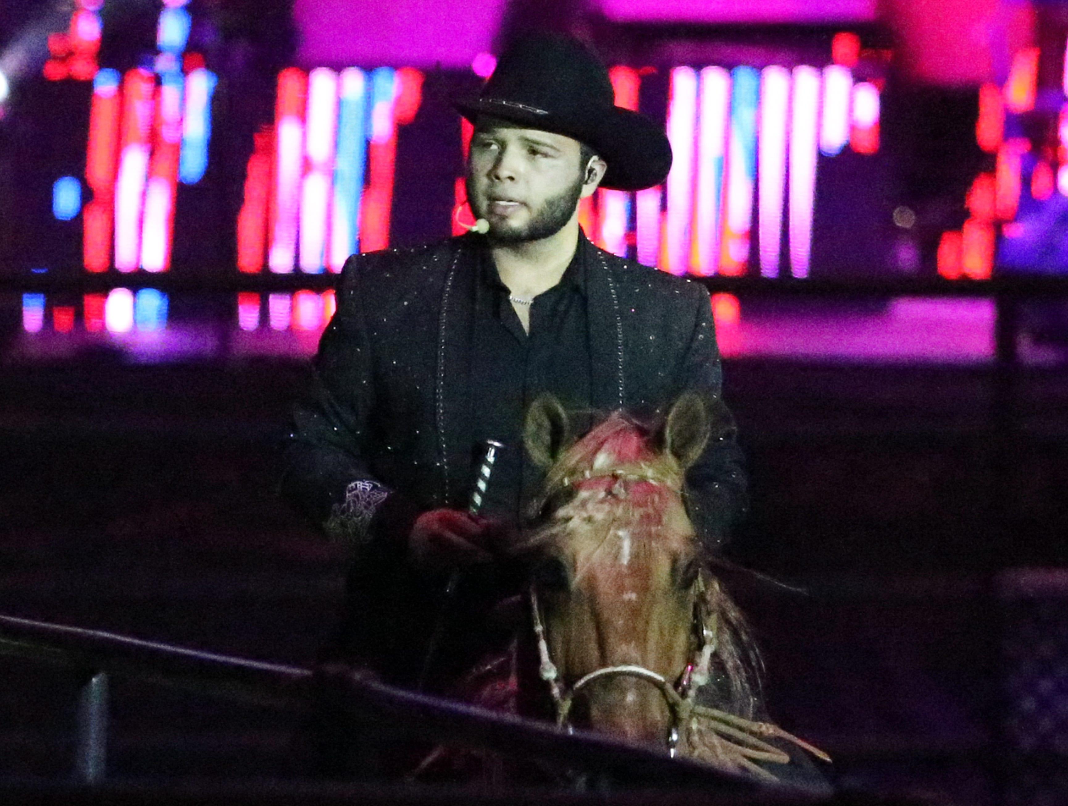 Leonardo Aguilar, 18, started off the 'Jaripeo Sin Fronteras' show Saturday night in the El Paso County Coliseum.