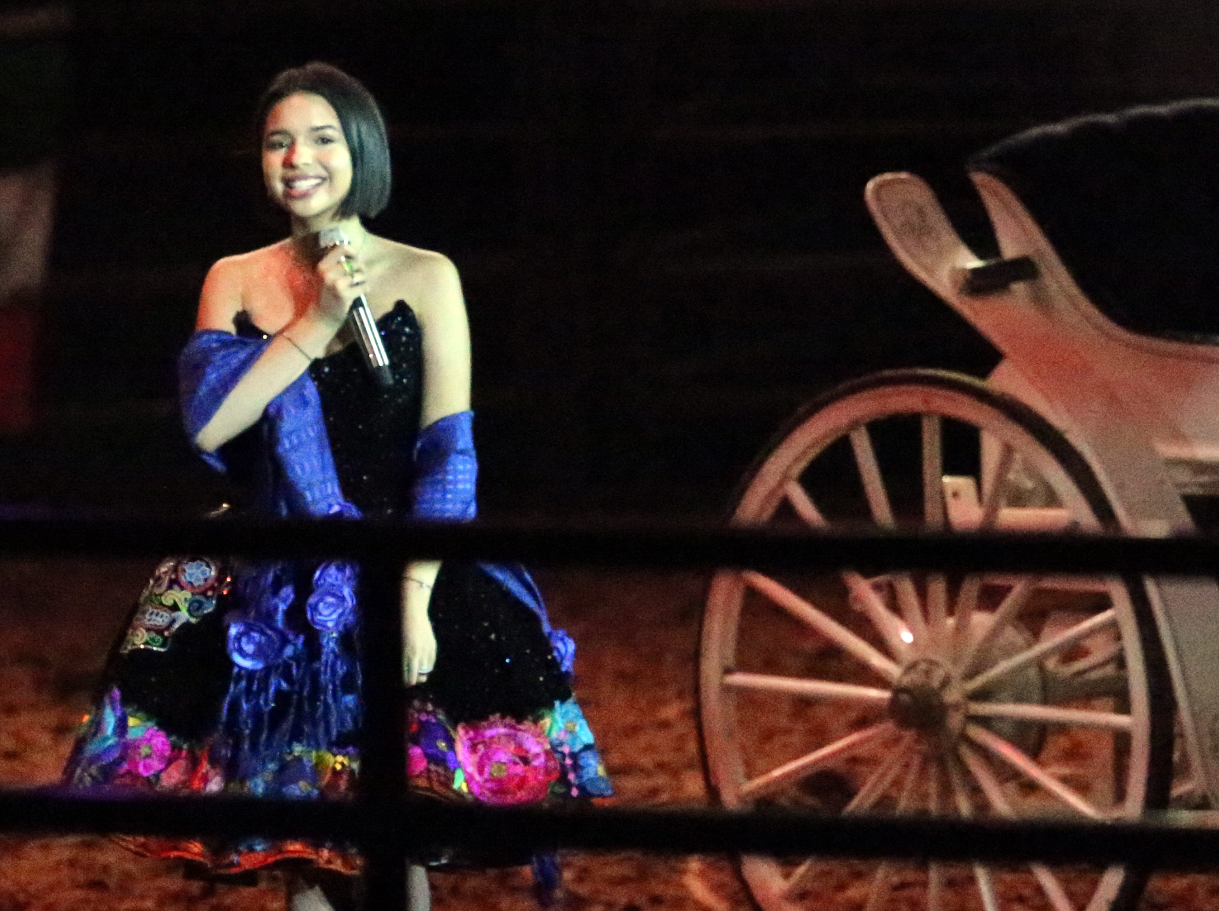 Angela Aguilar, 14, sings to the crowd Saturday night.