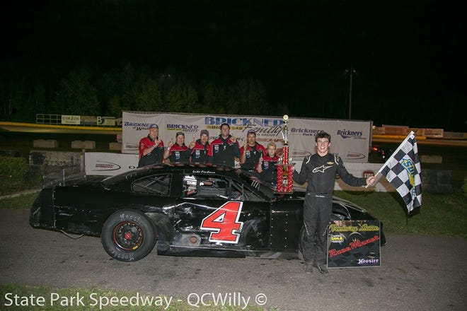 Luke Fenhaus won the 'Lodi' Memorial feature race Thursday at State Park Speedway