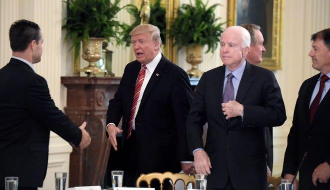 President Donald Trump with Sen. John McCain at the White House, June 27, 2017.