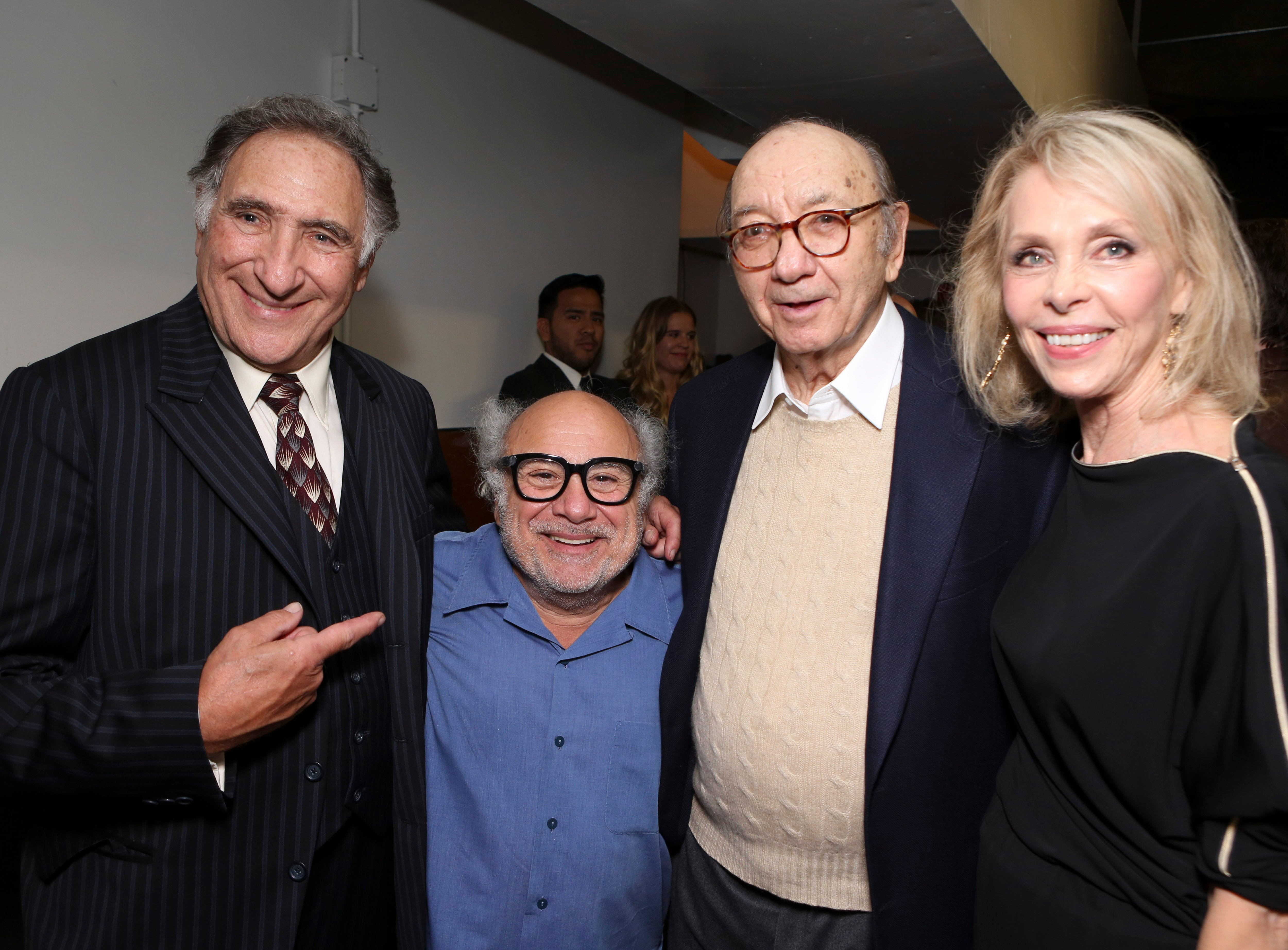 "From left, cast members Judd Hirsch and Danny DeVito pose with Playwright Neil Simon and Elaine Joyce backstage after the opening night performance of Neil Simon's ""The Sunshine Boys"" at Center Theatre Group/Ahmanson Theatre on Wednesday, October 2, 2013, in Los Angeles, Calif. (Photo by Ryan Miller/Invision/AP)"