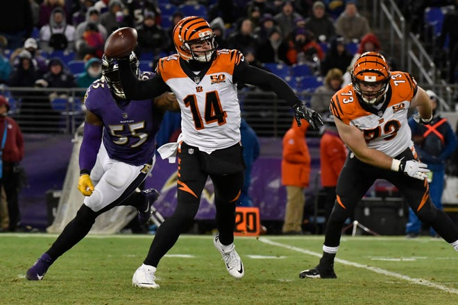 Bengals quarterback Andy Dalton eludes the Baltimore Ravens pass rush in last year's regular-season finale. The Bengals won 31-27 to knock the Ravens out of the AFC playoffs.