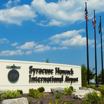 A sign welcomes visitors to Syracuse's Hancock International Airport in central New York.