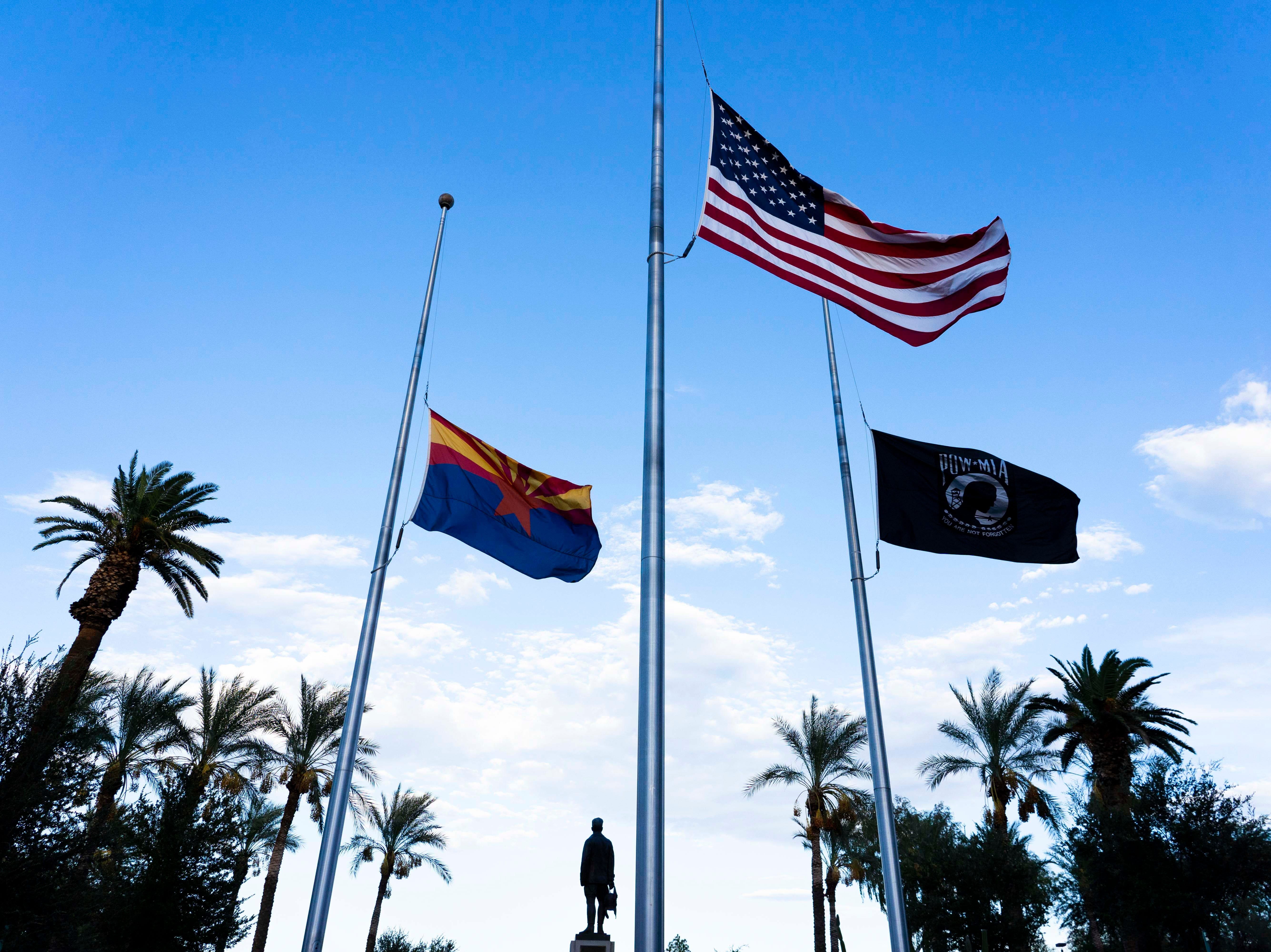 Flags were lowered down at the half-staff at the Arizona State Capitol to honor John McCain, who endured more than five years as a prisoner of war in Vietnam before becoming the 2008 Republican presidential nominee and serving Arizona for more than 30 years on Capitol Hill, died Saturday, August, 25th at age 81.
