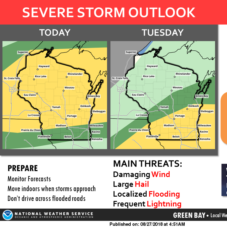 Chance for severe weather will linger into Tuesday throughout Wisconsin