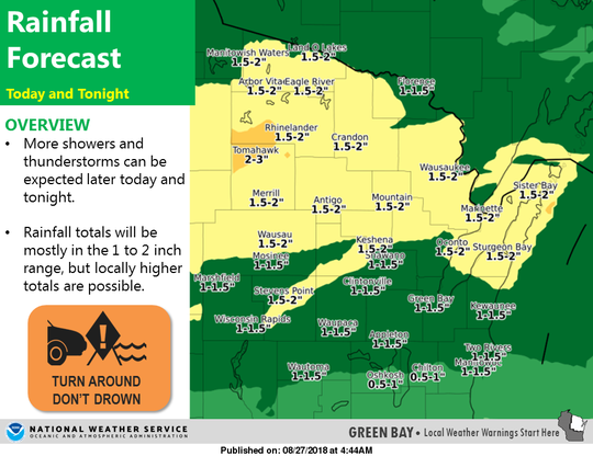 Rainfall totals could reach up to two inches in some areas.