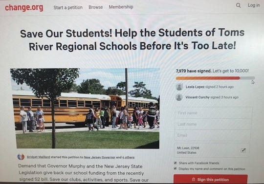 A petition started by Toms River Regional parent Bridget Maillard urges the state to give more funding to the district.