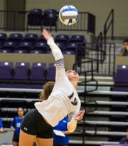 Hardin-Simmons senior Allison Kuster goes for a kill during a 2017 match. Kuster and the other five senior Cowgirls begin their final season Friday.