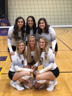 The Hardin-Simmons volleyball team has six seniors on the roster that have been together since freshmen. The Cowgirls open the 2018 season Friday in Sherman. Pictured top (L-R): Allison Kuster, Peyton Mandrell and Leecia DePaula. Bottom (L-R): Morgan Prince, Rebekah Hayes and Meagan Bauer.