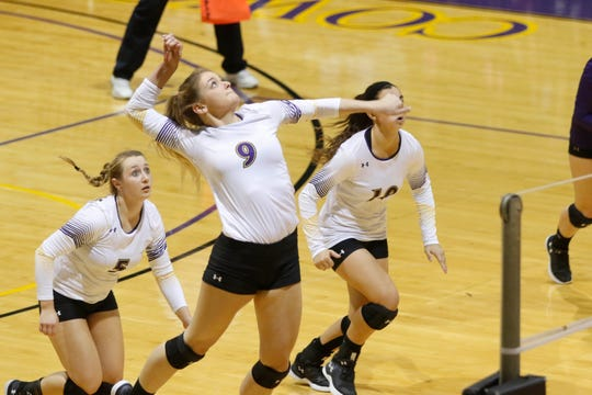 Hardin-Simmons senior Morgan Prince goes for a kill during a 2017 match. Prince is one of six seniors playing in her fourth and final season with the Cowgirls.