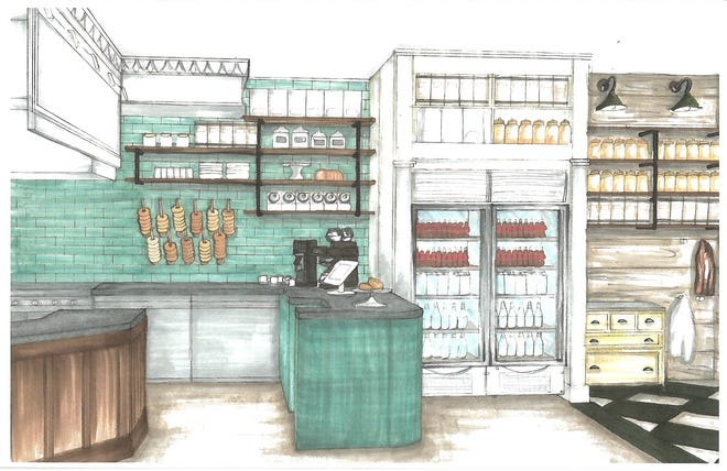 A rendering of the forthcoming Button & Co. Bagels.