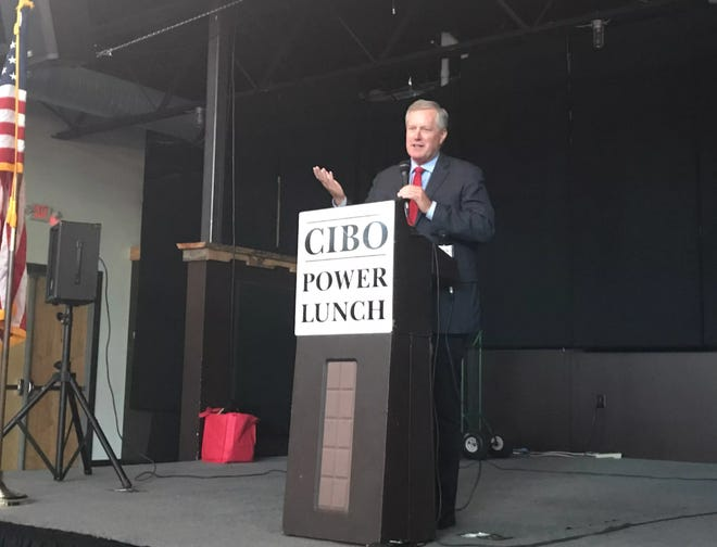 U.S. Rep. Mark Meadows speaks Monday, Aug. 27, 2018, at a Council of Independent Business Owners meeting at Highland Brewing Company.